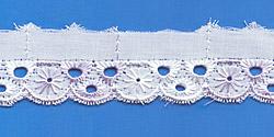 Кружево (шитьё): Бело-сиреневое; Артикул: 604; Цена: 7руб.50коп.; Наличие:  ЕСТЬ;