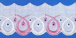 Кружево (шитьё): Бело-розовое; Артикул: 616; Цена: 9руб.80коп.; Наличие:  ЕСТЬ;